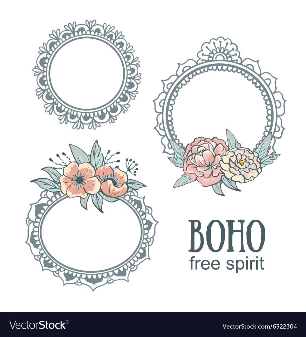 Set of Ornamental Boho Style Frames with flowers