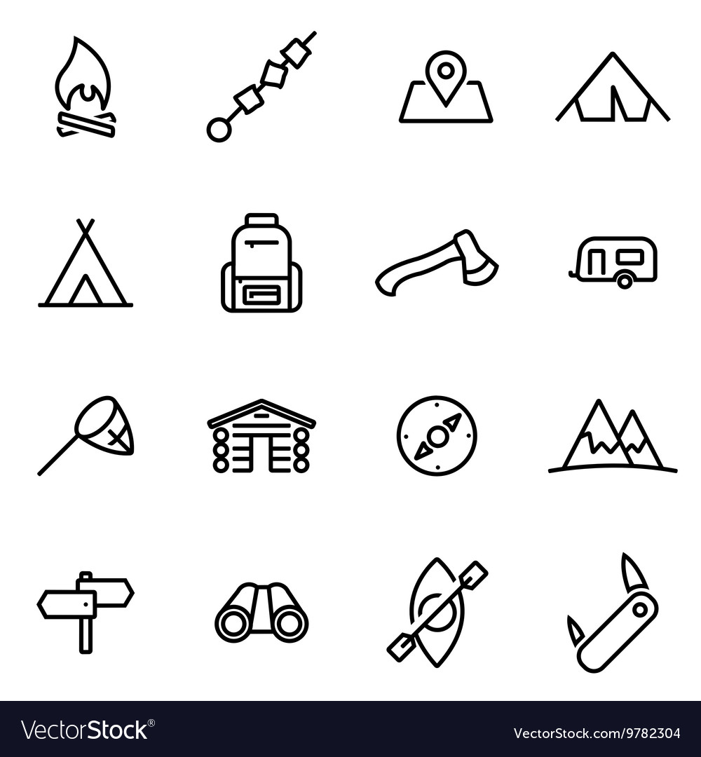 Thin line icons - camping