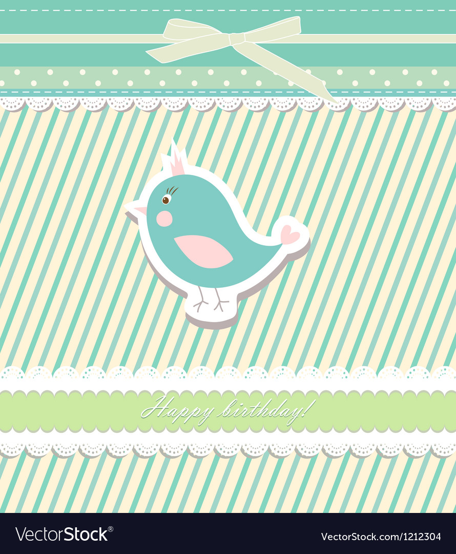 Vintage doodle bird for frame wallpaper vector image