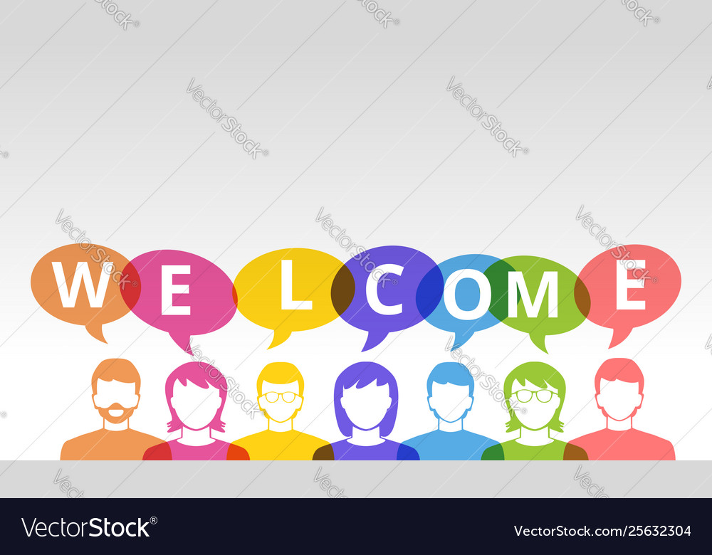 Welcome people icons and colorful speech bubbles