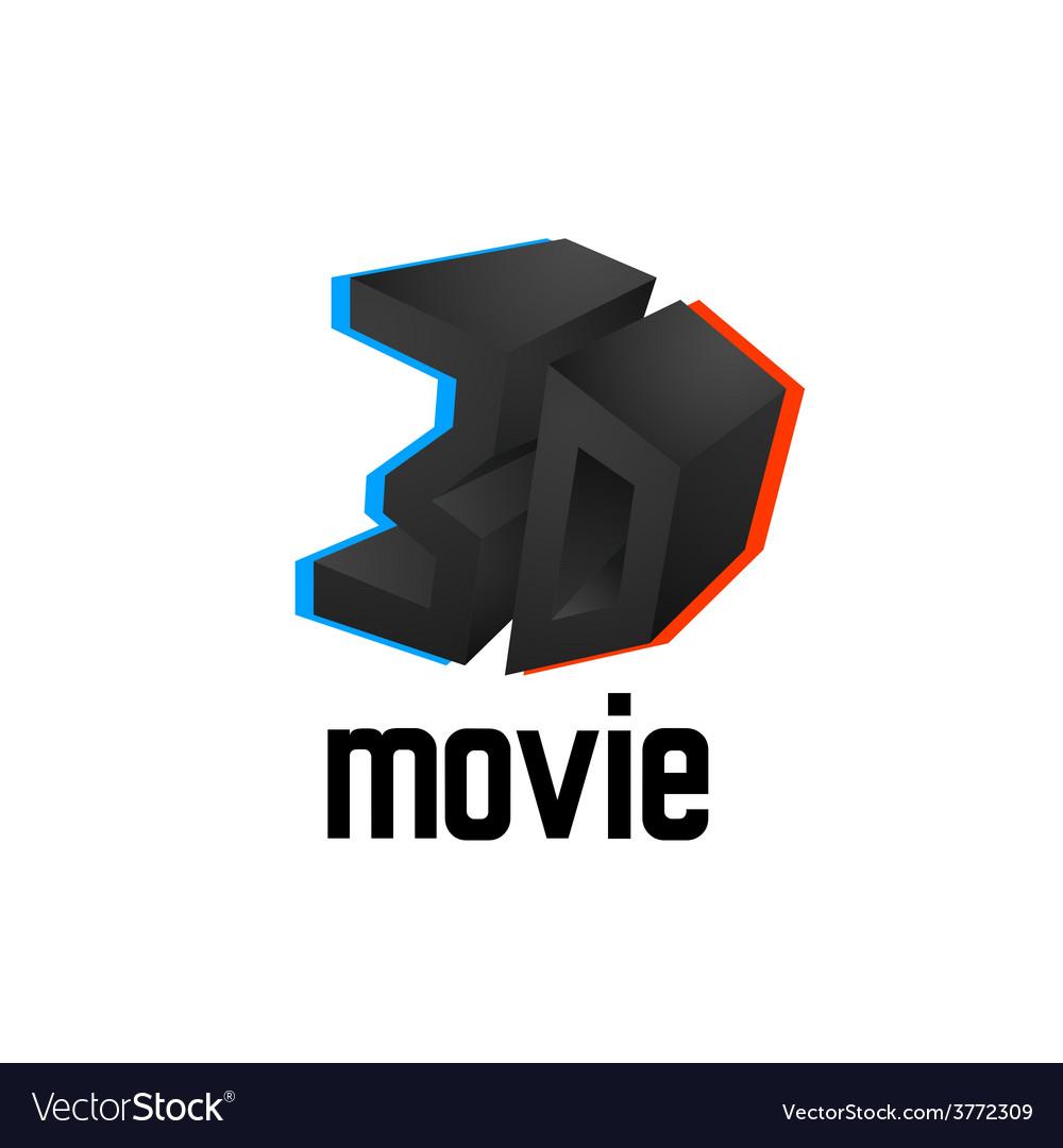 3D movie logo icon cinema design template with