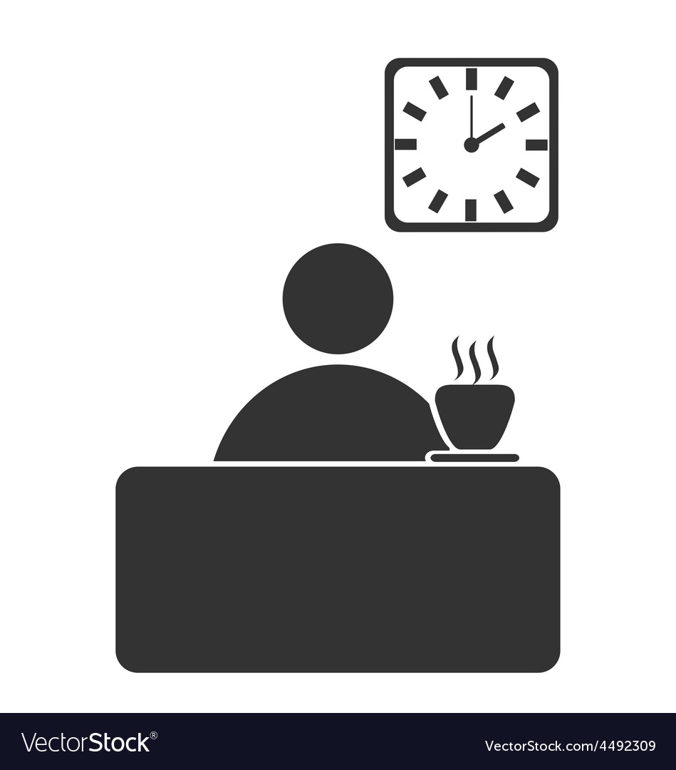 Business office coffee break flat icon isolated on
