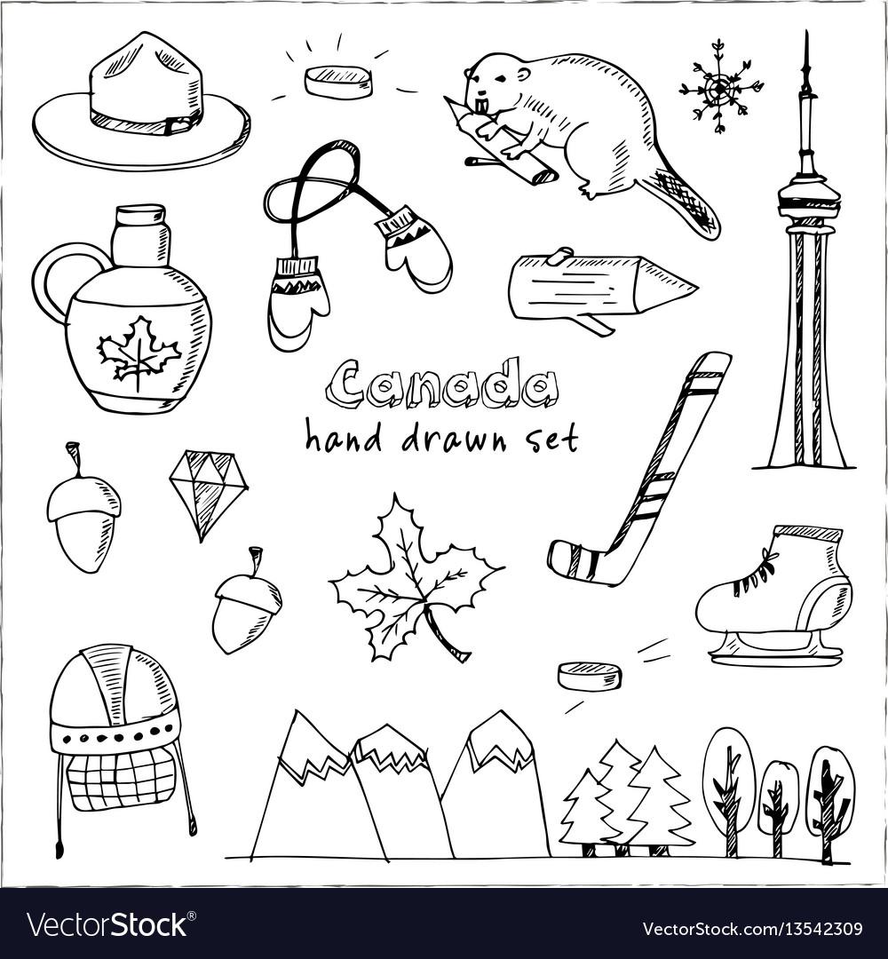 Canada hand drawn icon doodle set