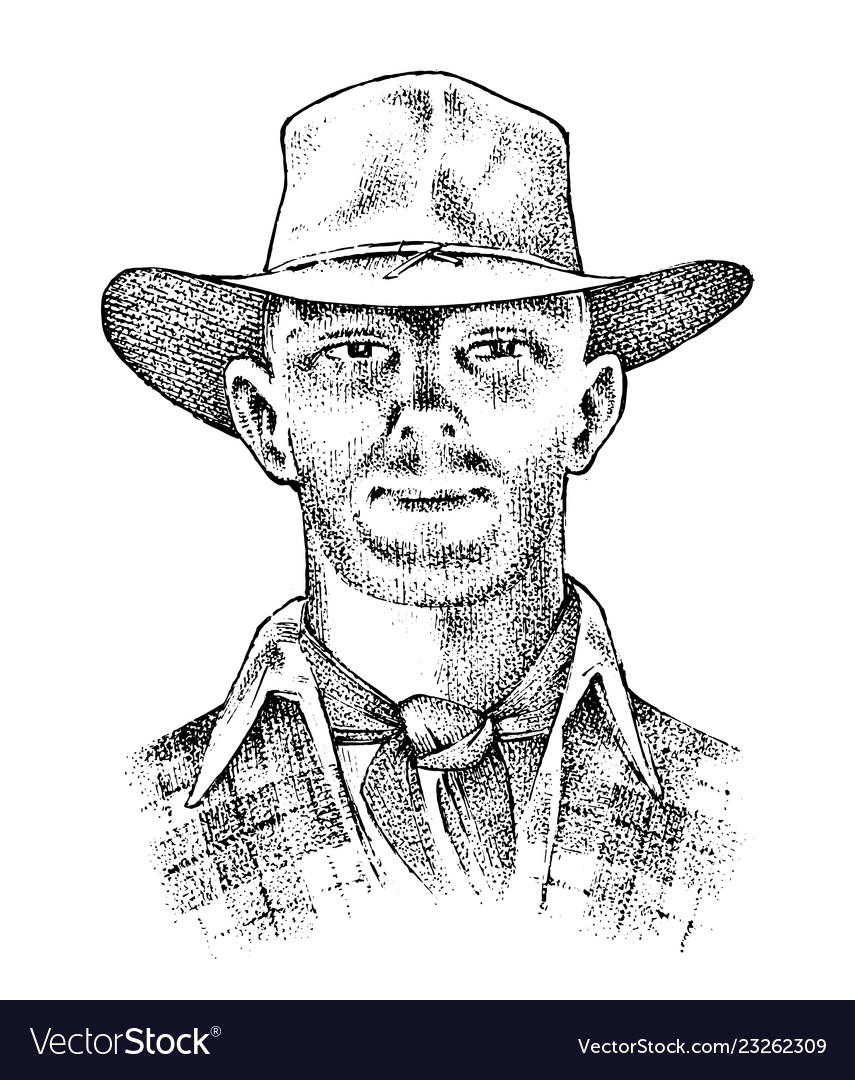 Cowboy face close up sheriff in hat western