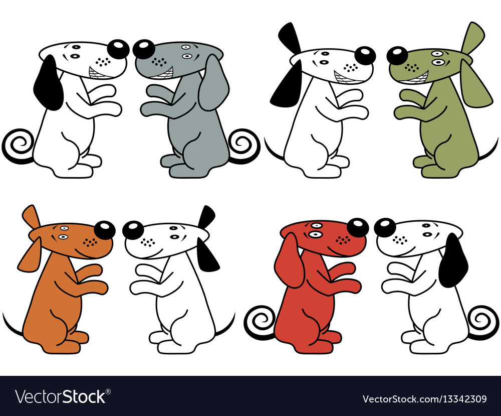 Four pair of amusing dogs vector image