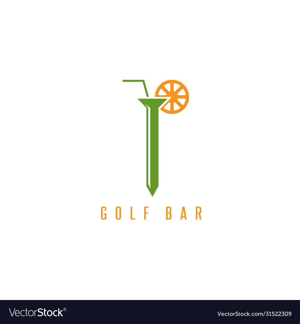 Golf tee with straw and lemon design template