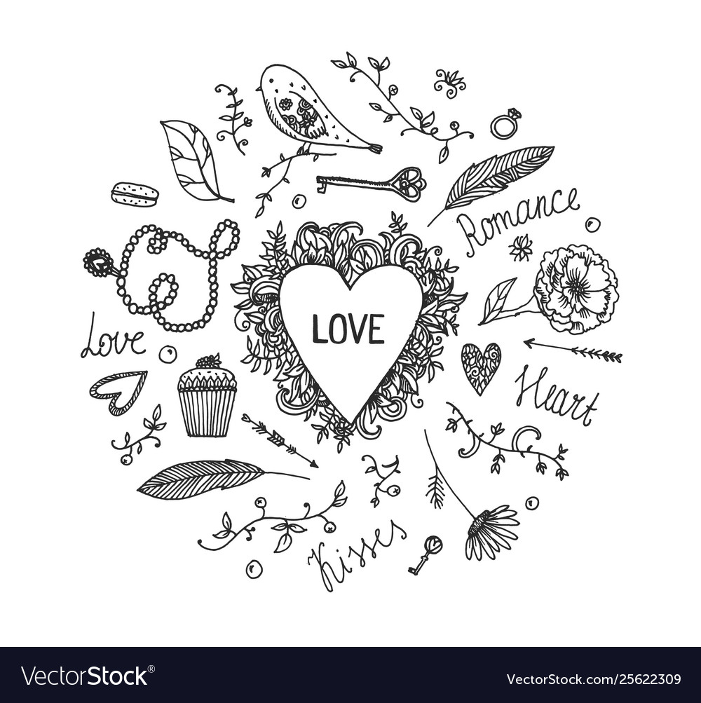 Hand drawn romantic set love wedding