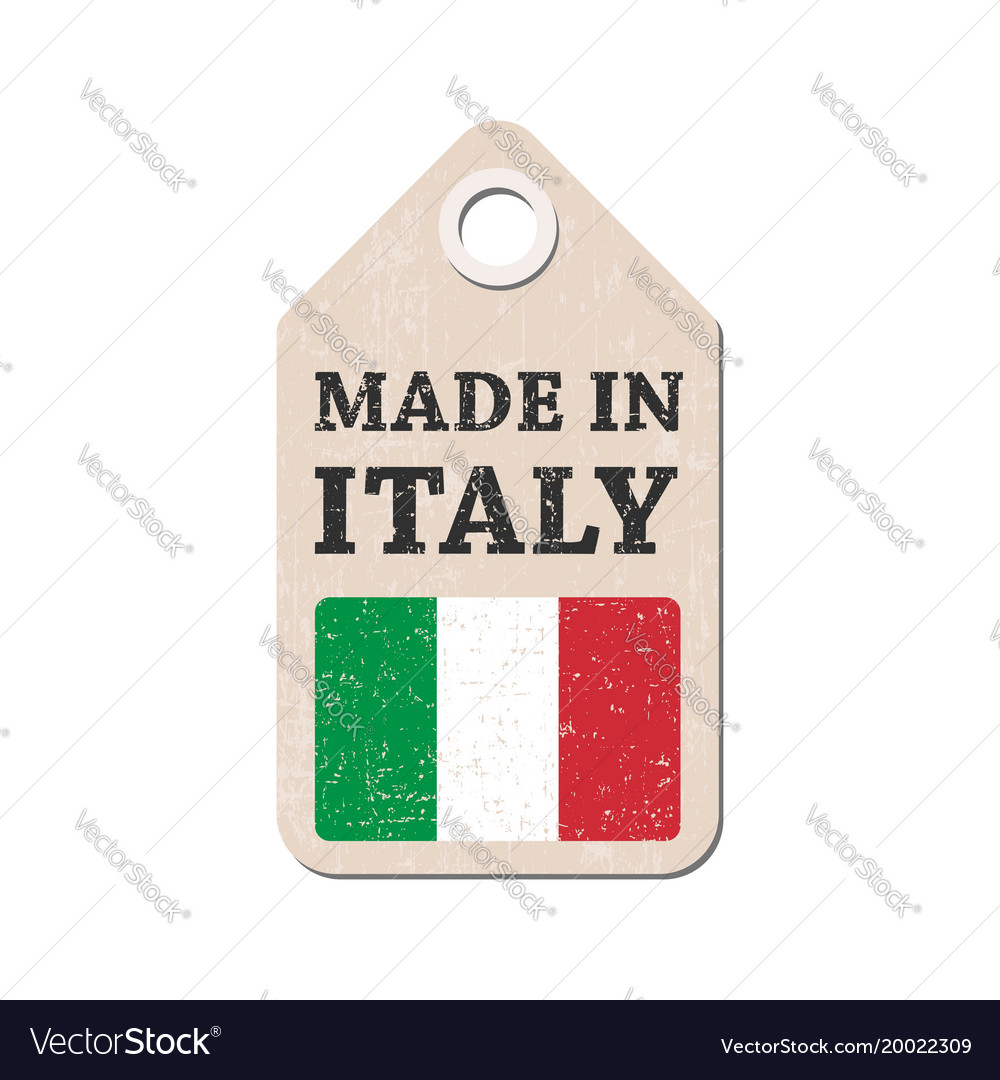 Hang tag made in italy with flag
