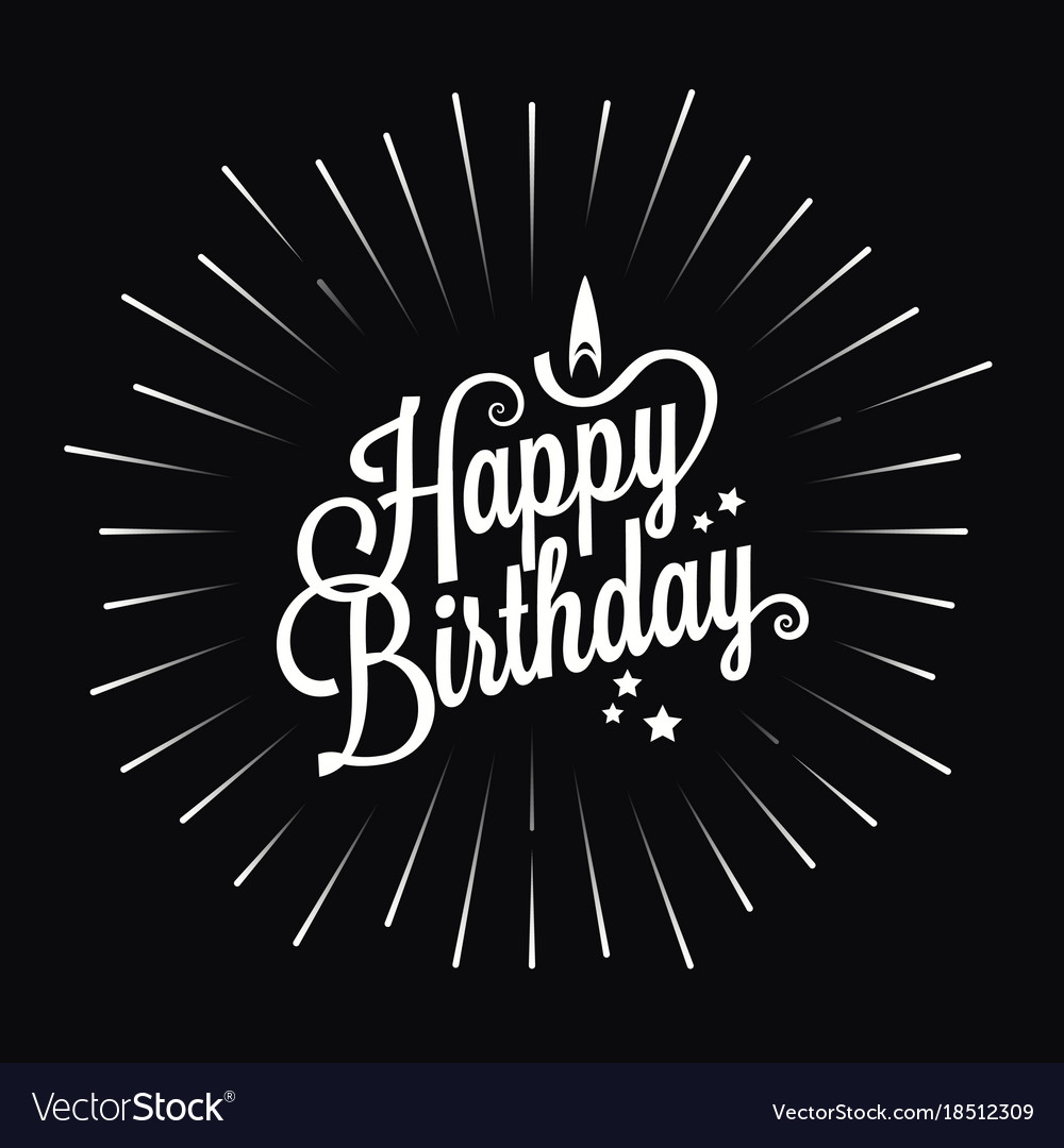 Happy Birthday Logo Star Burst Design Background Vector Image