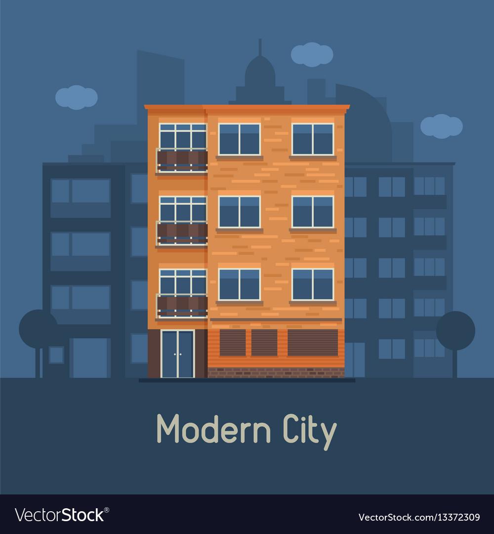 Modern multistory house on city background