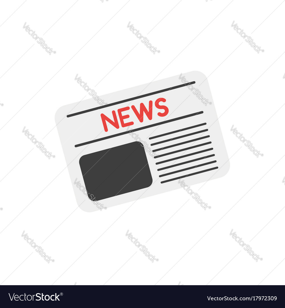 Newspaper on white with flat design style vector image