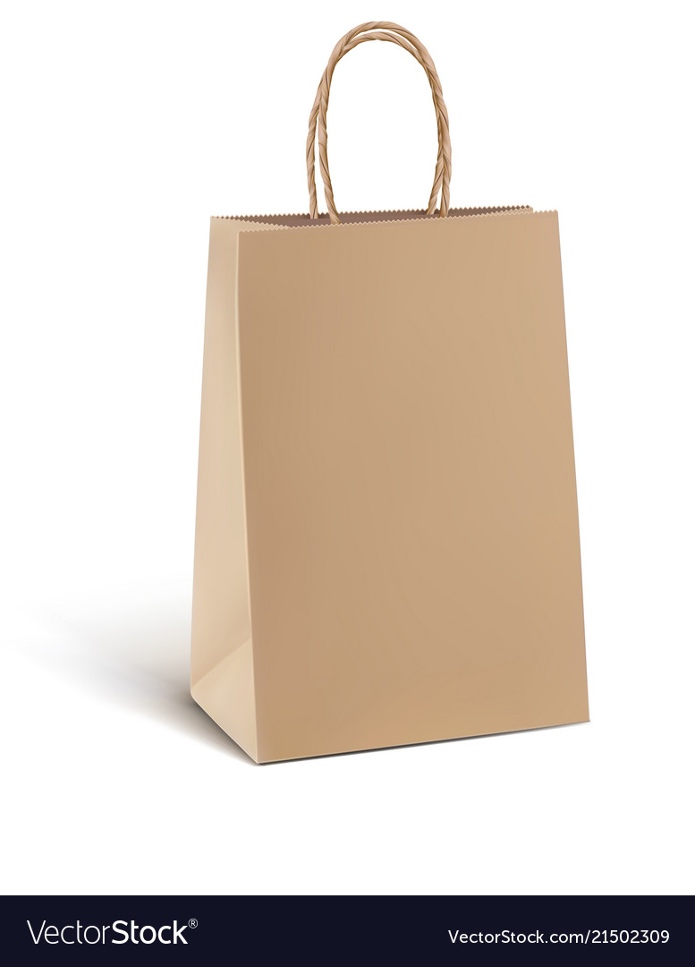 Paper kraft shopping bag isolated on white 3d