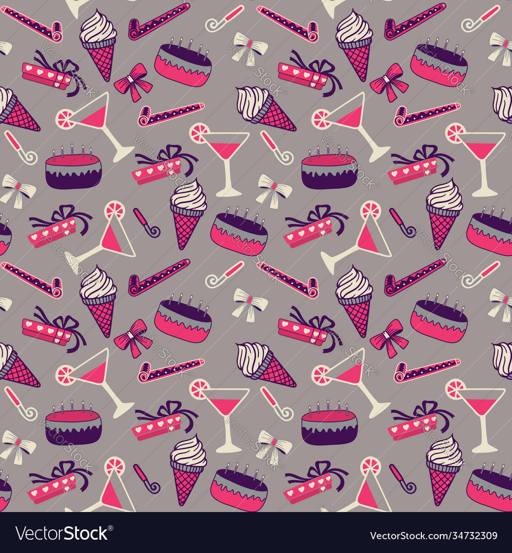 Seamless birthday pattern with champagne and cake vector