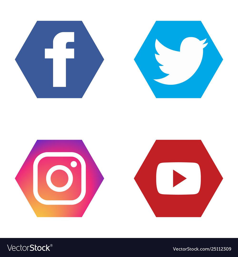 Social Icons Set Fb Twitter Instagram Youtube Vector Image