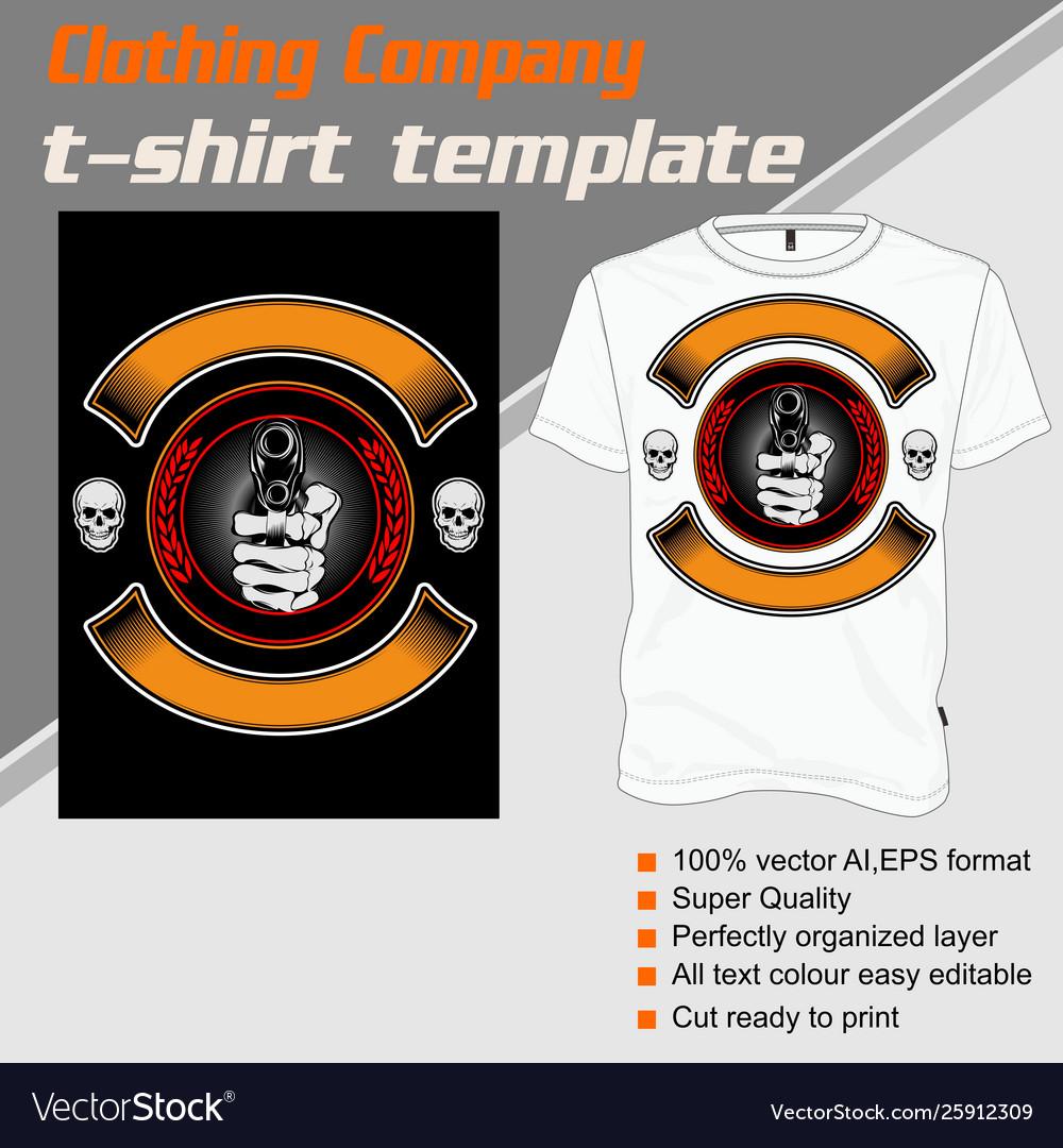 T shirt template hand handling gunisolated and