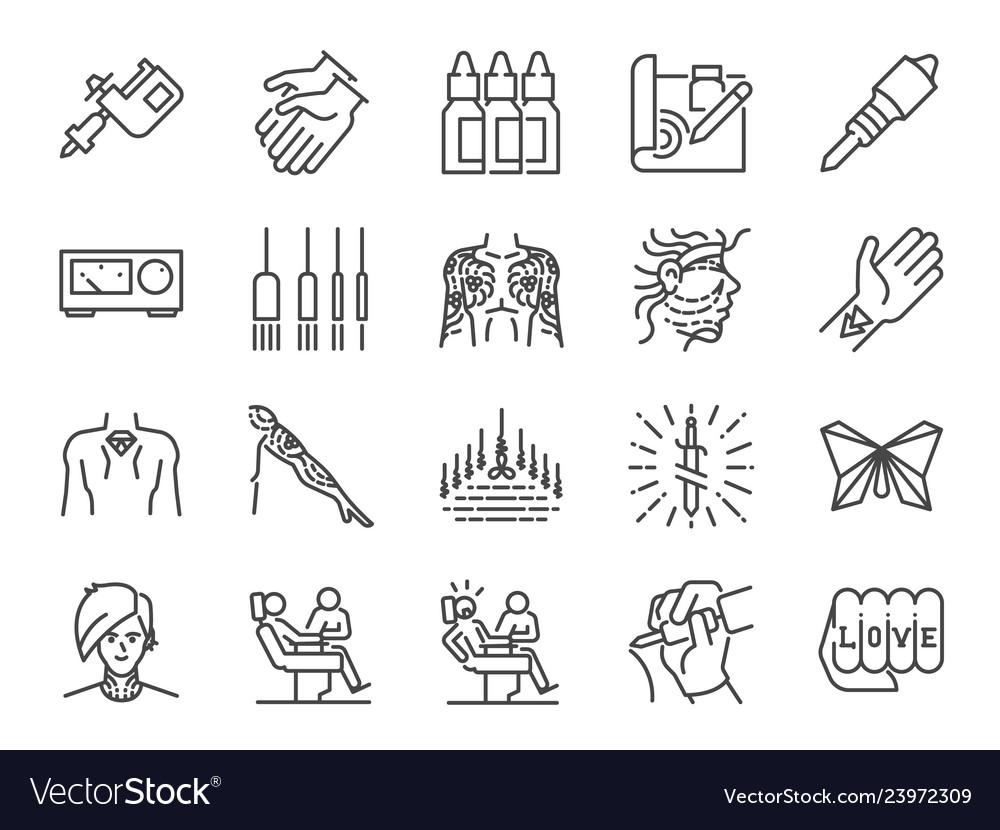 Tattoo line icon set