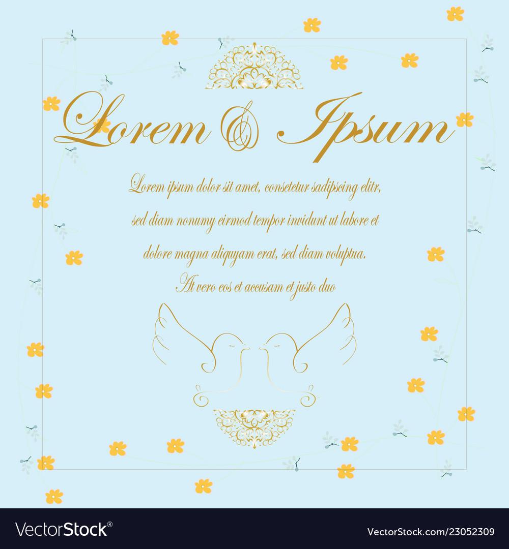 Vintage Gold Letter Wedding Card Vector Image