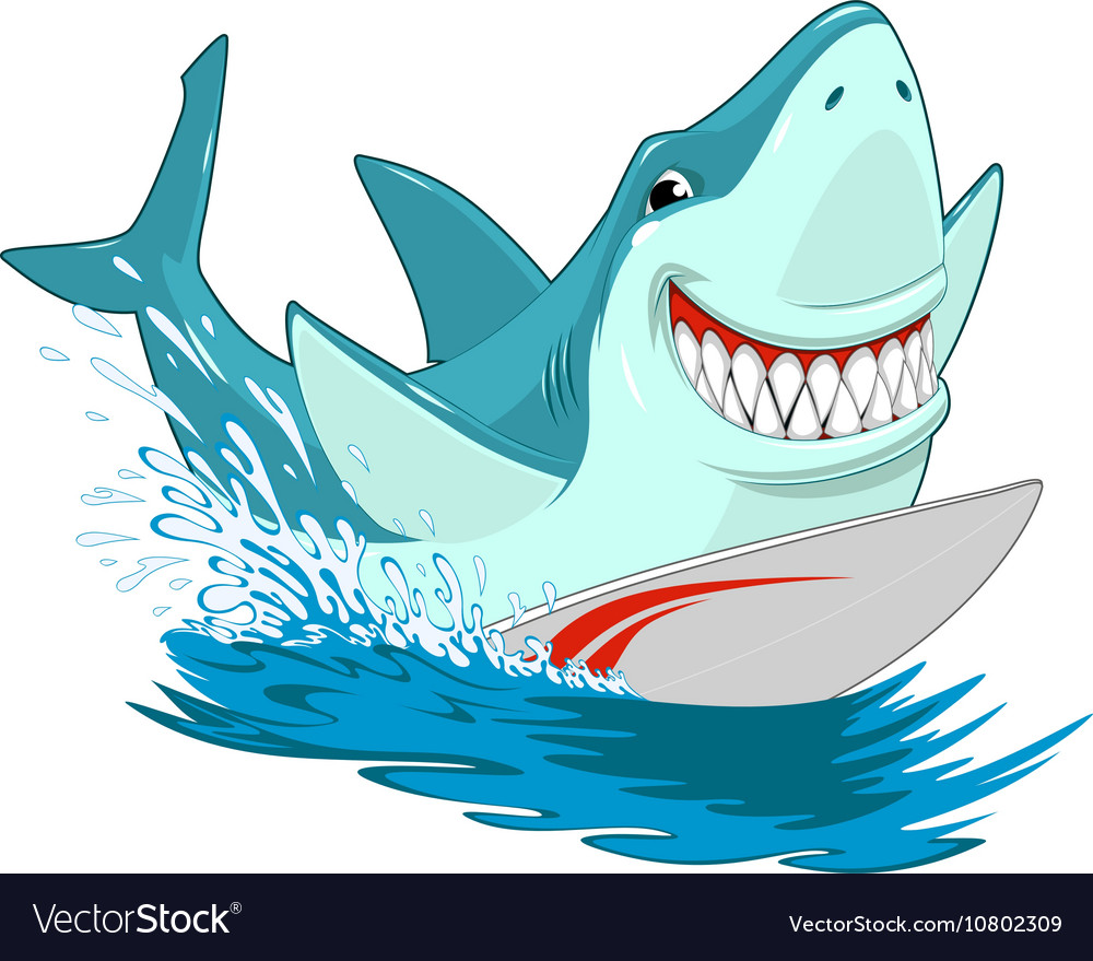 White shark surfer
