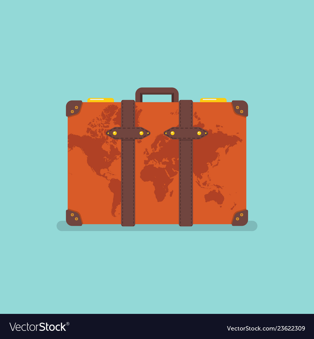 World map over vintage suitcase