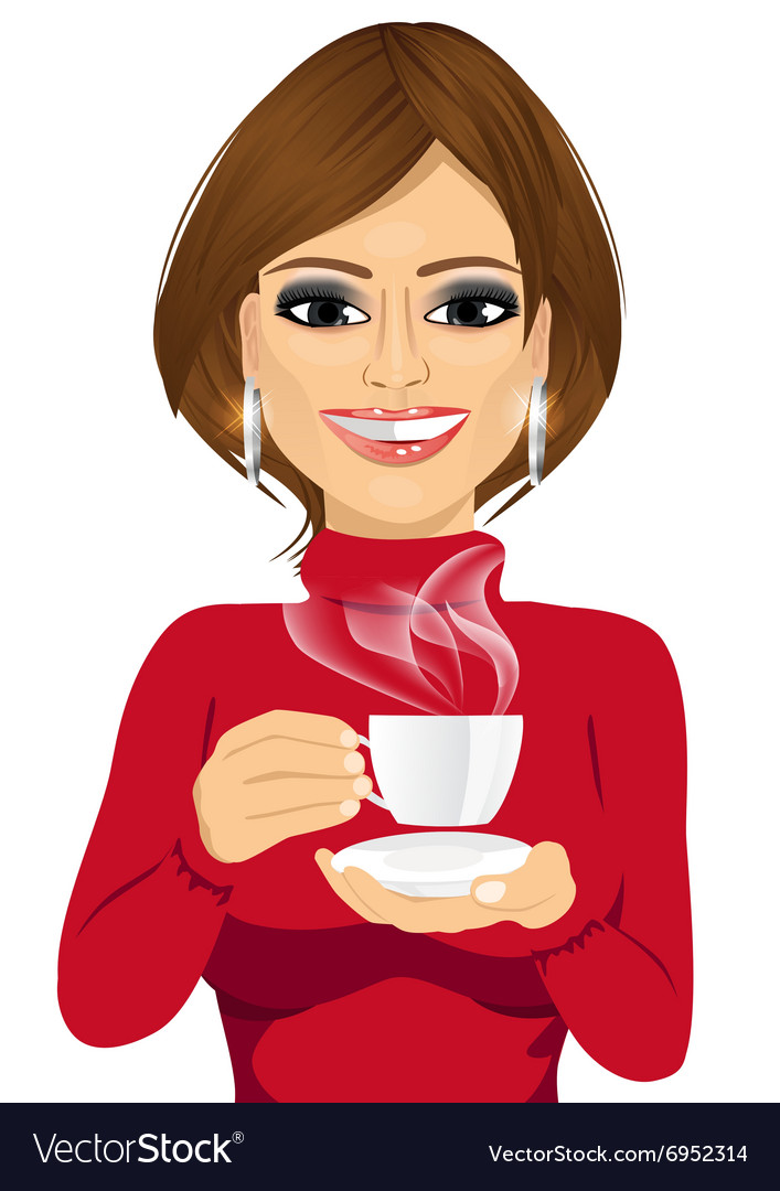 Attractive young woman drinking coffee Royalty Free Vector