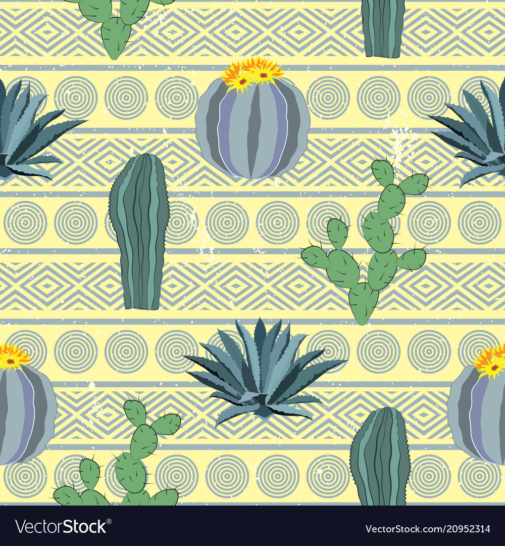 Cacti seamless pattern with geometric background