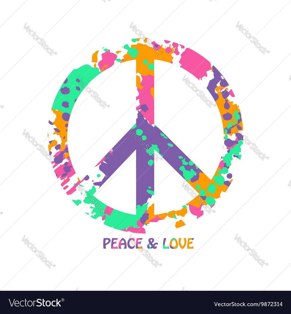 Colorful Peace And Love Hippie Symbol Royalty Free Vector