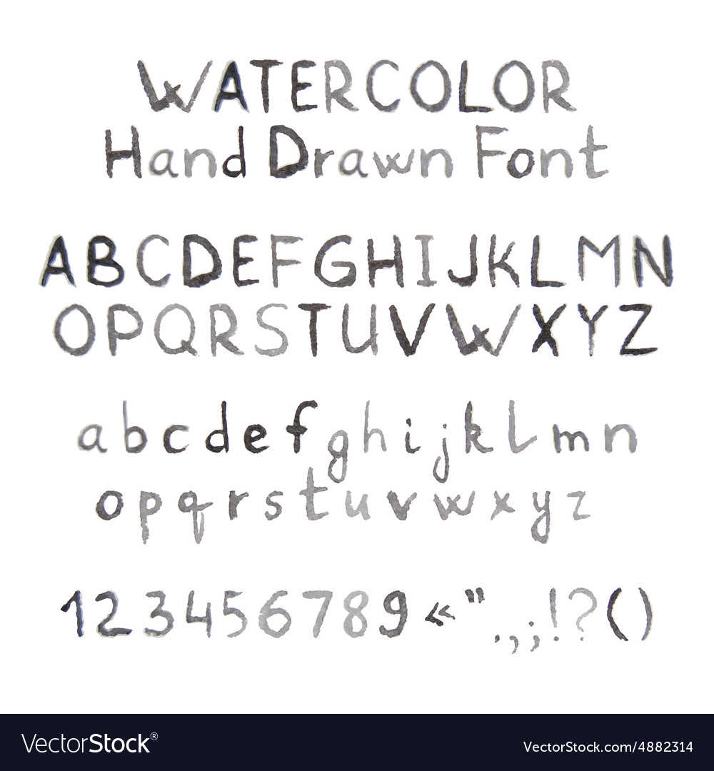 Dark grey watercolor hand drawn font