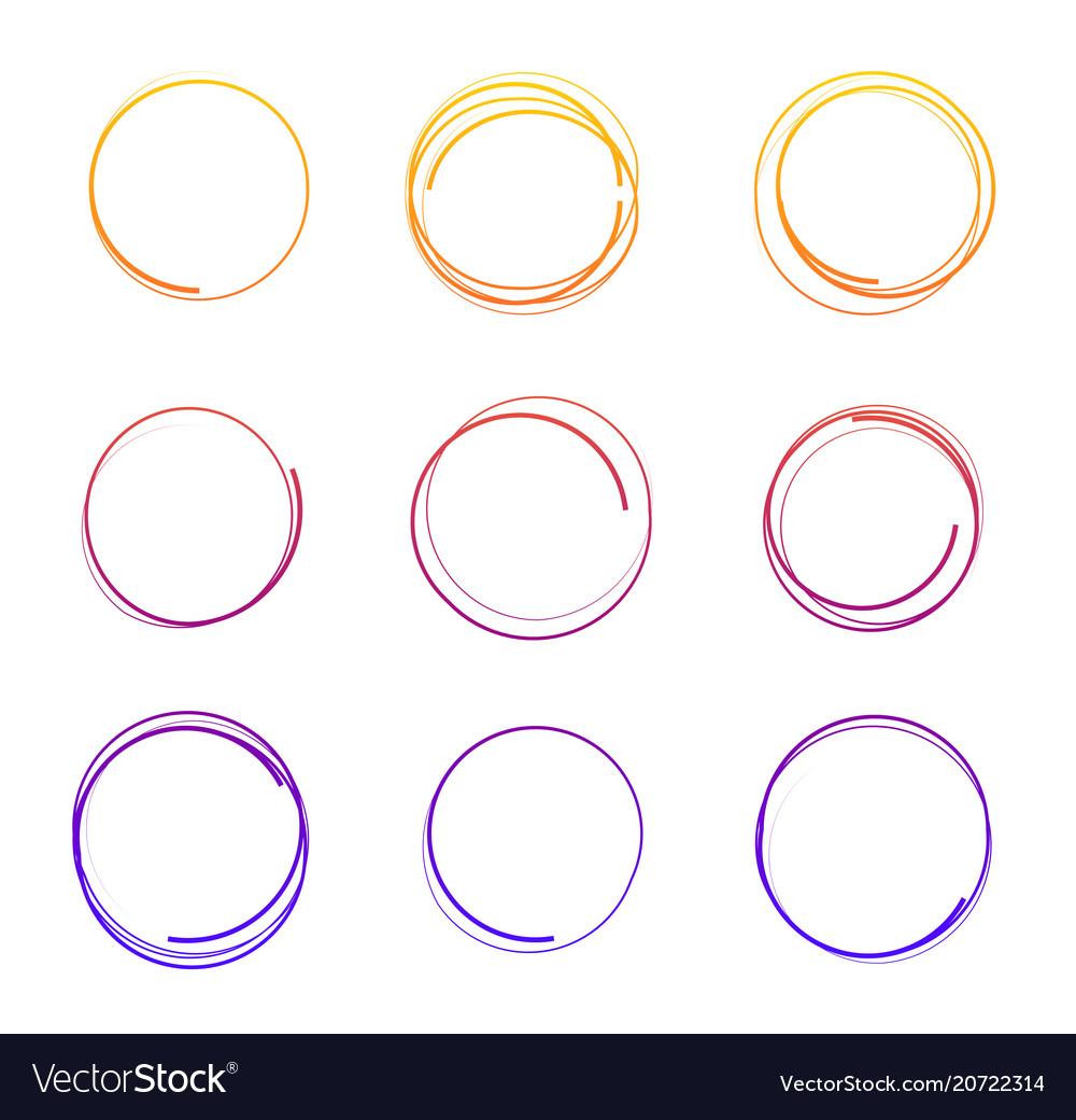Hand drawn colorful circles vector image