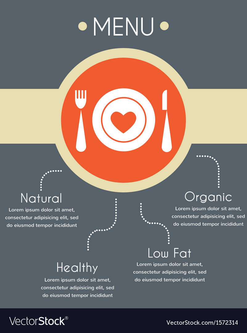 Menu template for helthy restaurant infographics vector image