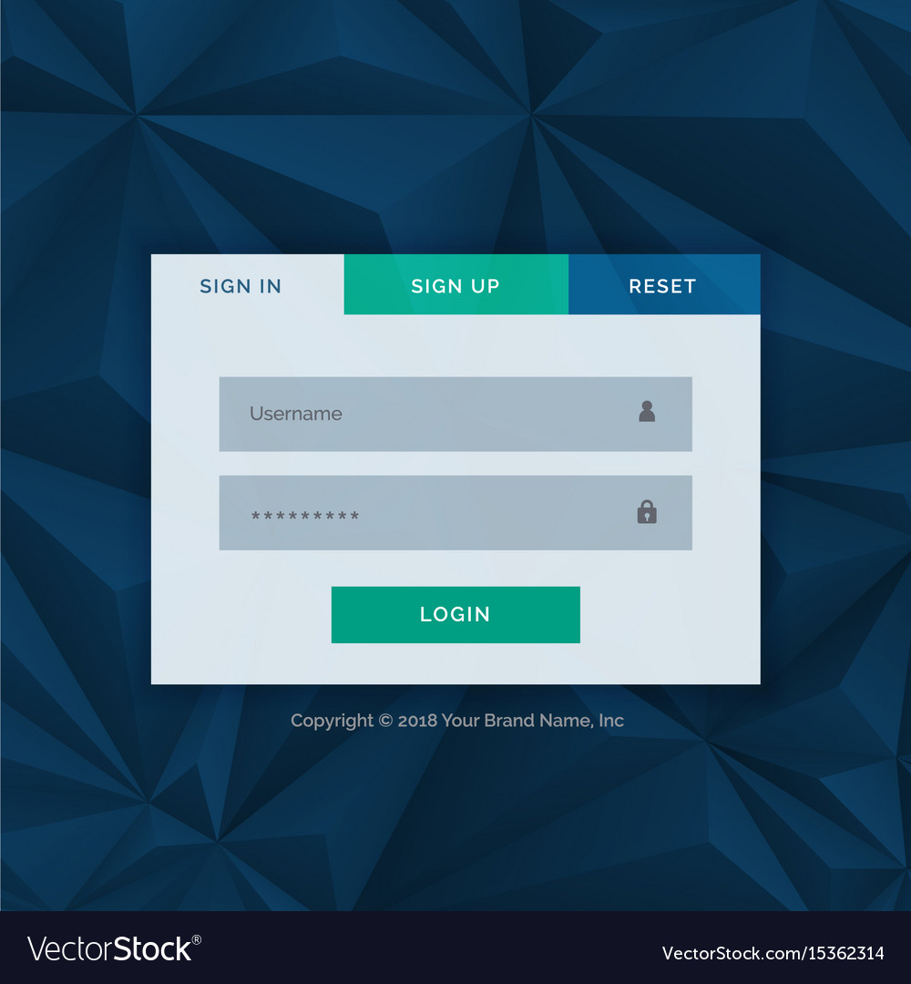 Modern Login Form Template For Your Web Design Vector Image