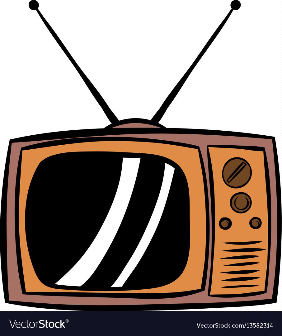 Old tv icon cartoon vector image
