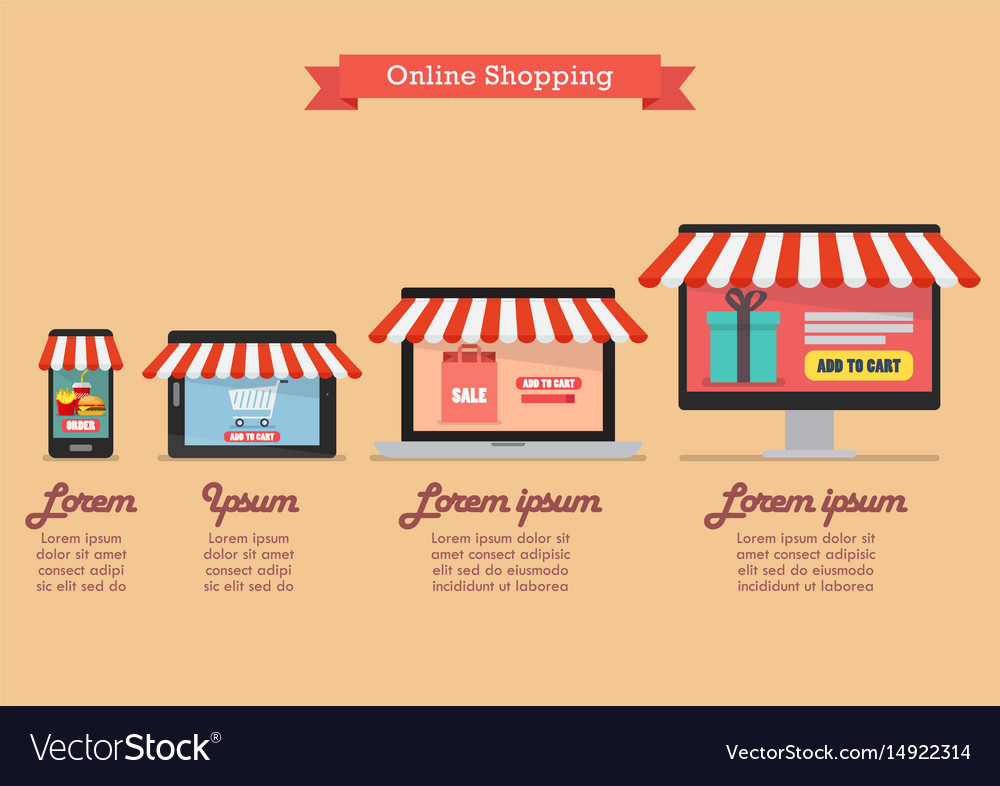 Online shopping concept in flat style infographic