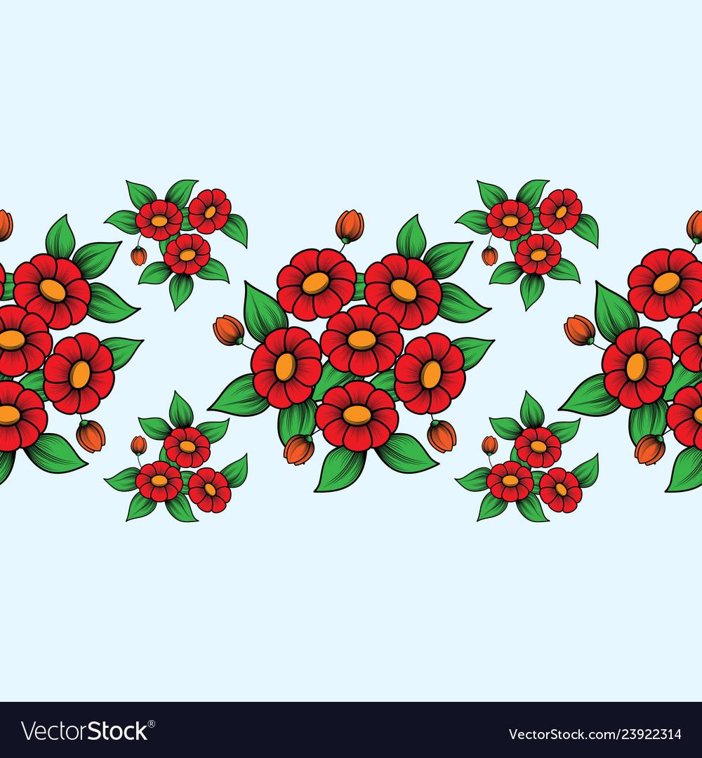 Seamless red flowers brush