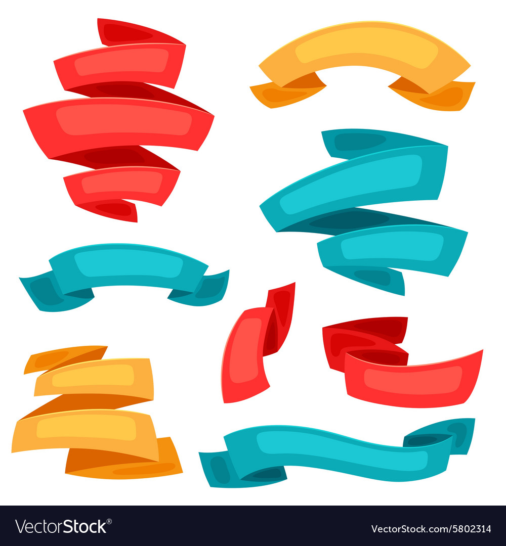 Set of decorative ribbons and banners in cartoon