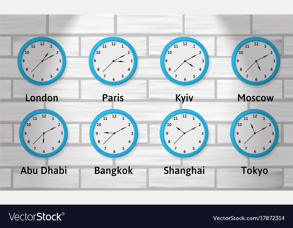 Time Zone Wall Clocks Royalty Free Vector Image