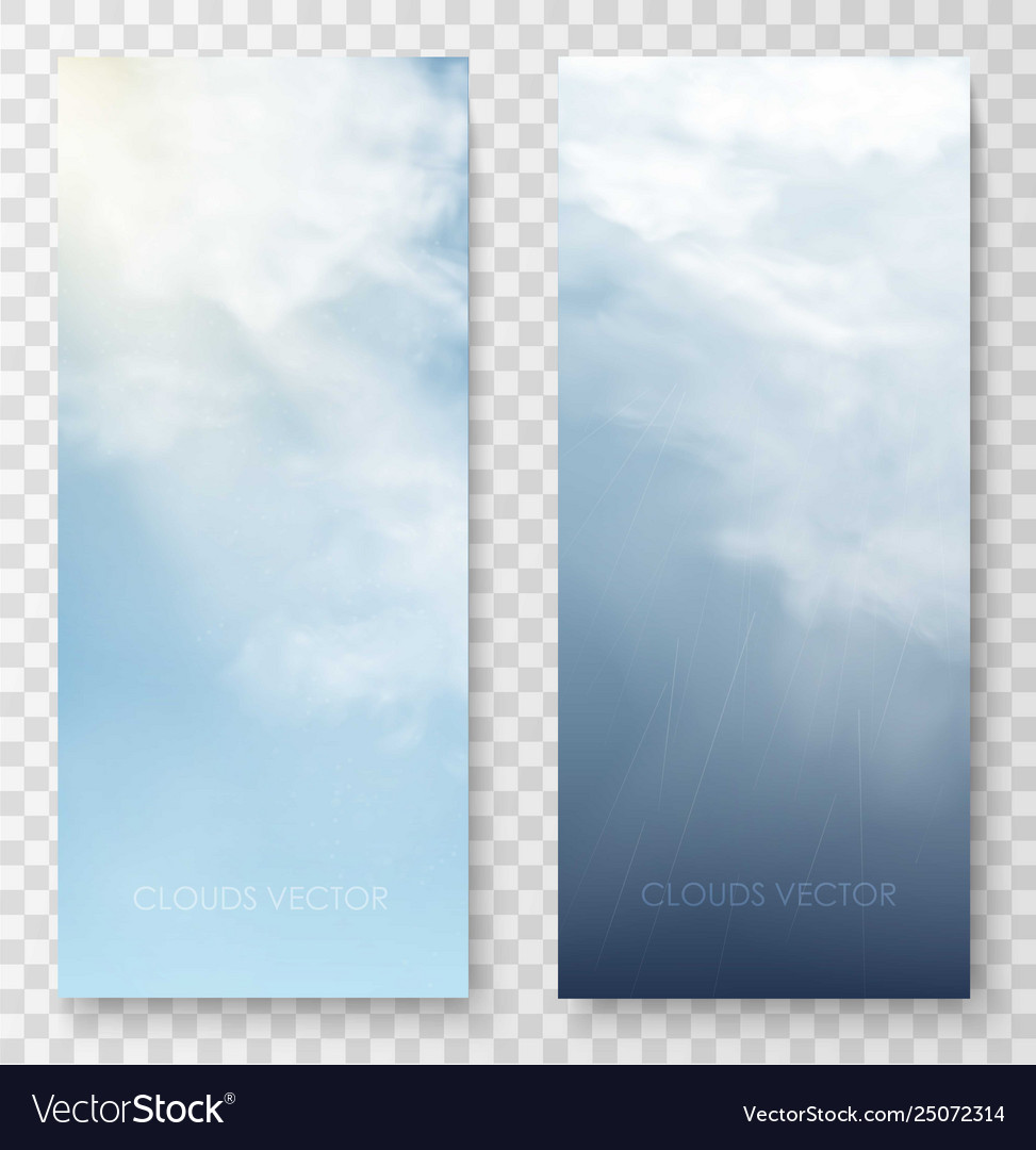 Vertical banners with sky and clouds