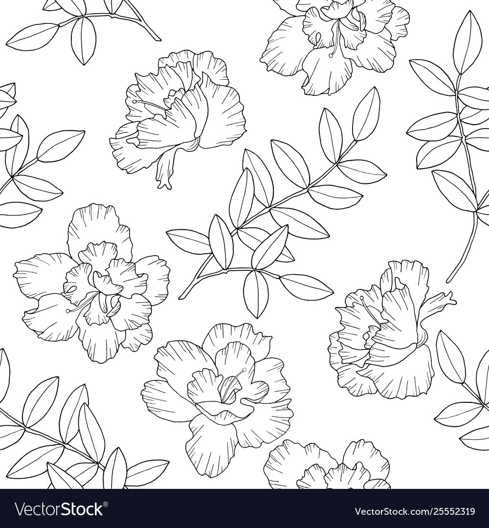 Abstract flowers and branches with leaves