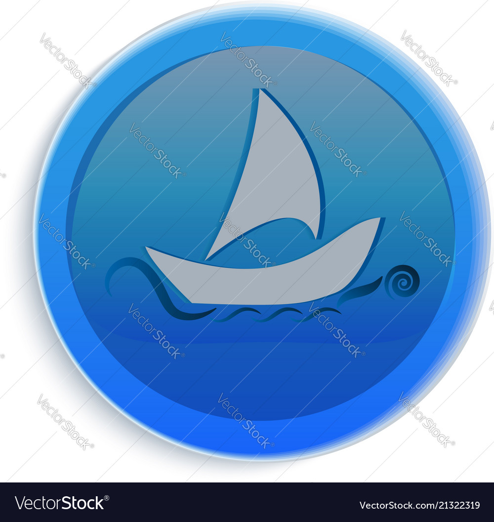 Boat on the sea icon