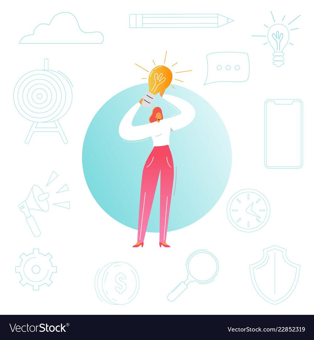 Business woman with light bulb creative idea