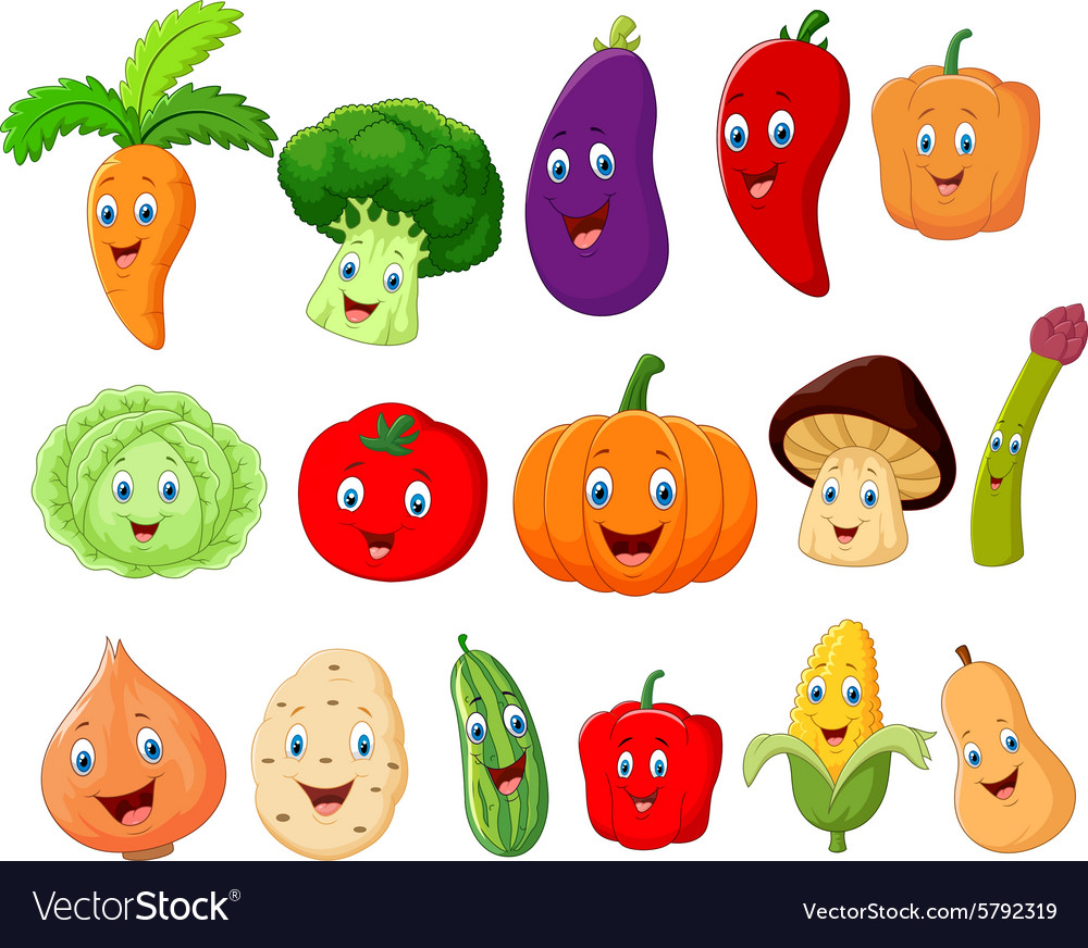 Cute vegetable cartoon character Royalty Free Vector Image
