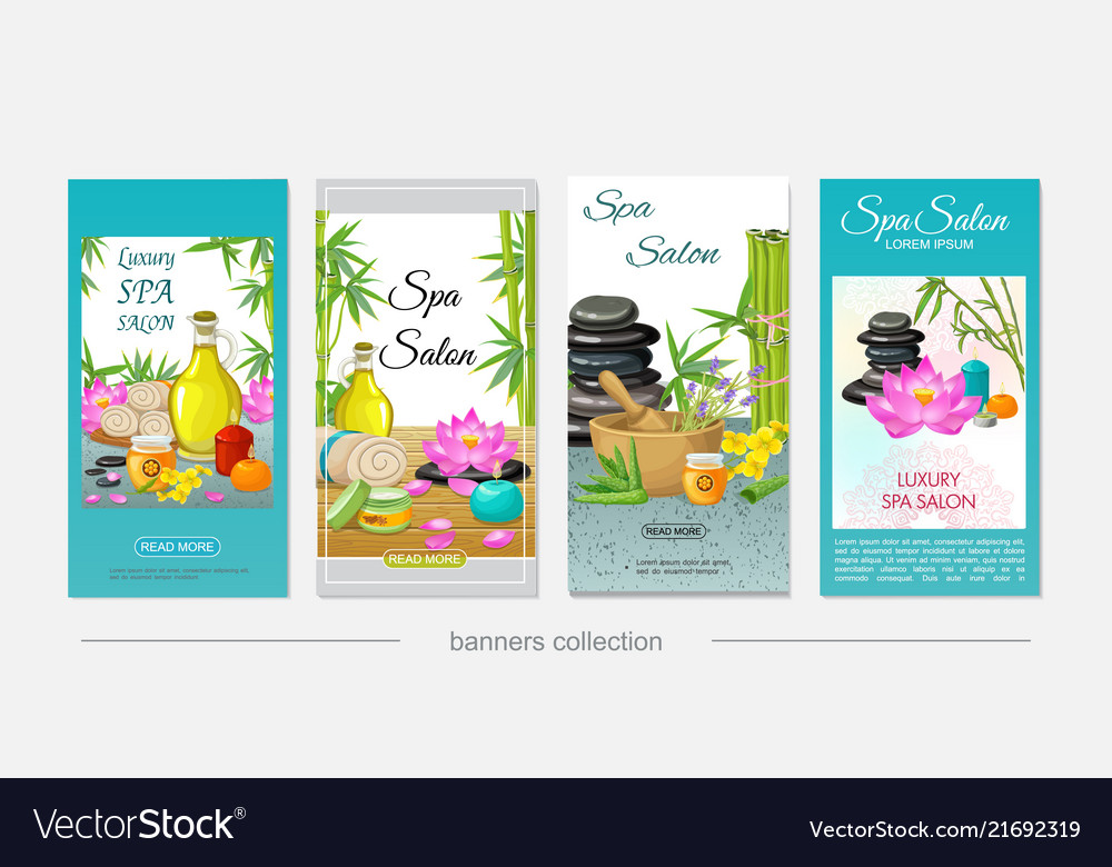 Flat spa salon vertical banners