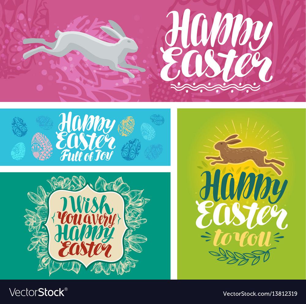Happy easter banner lettering vector image