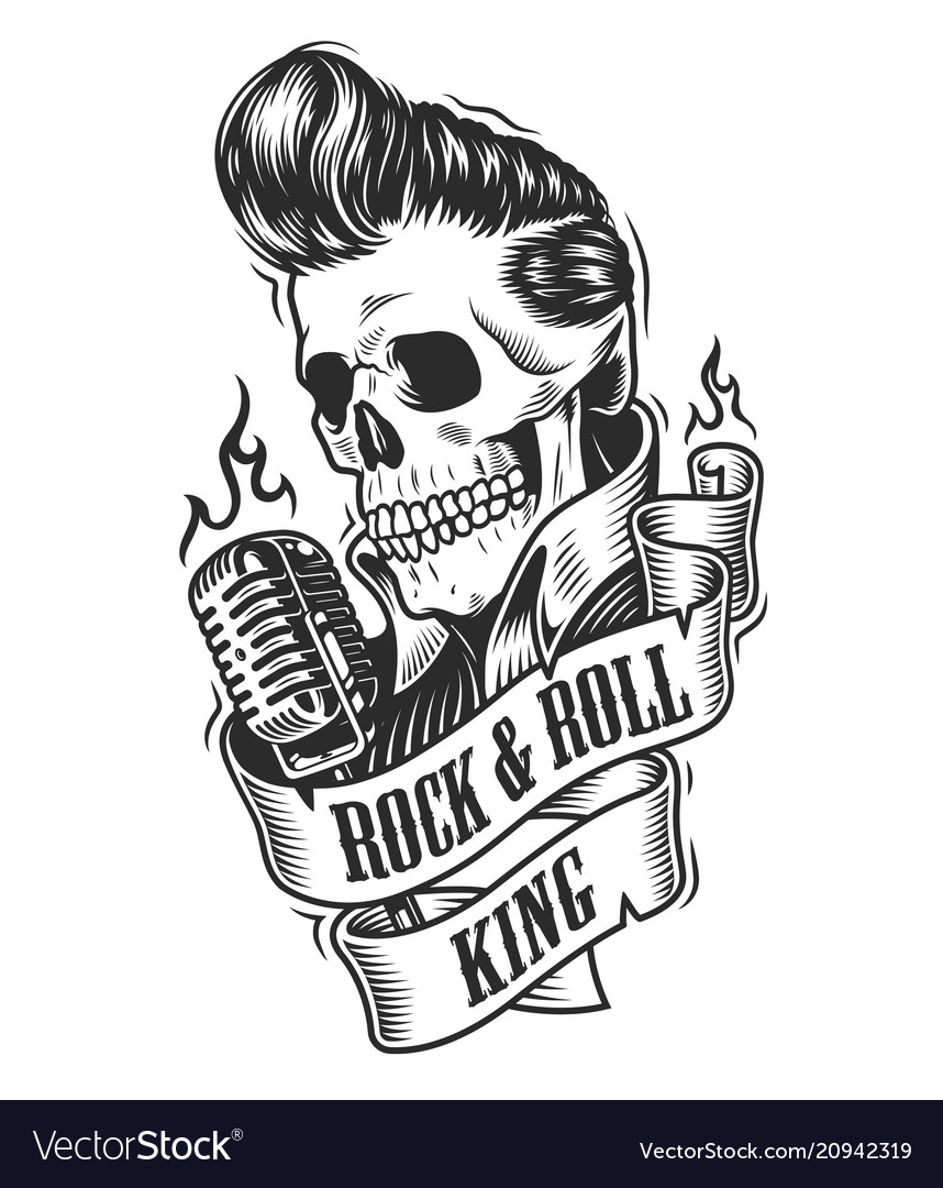 Human skull in rock and roll