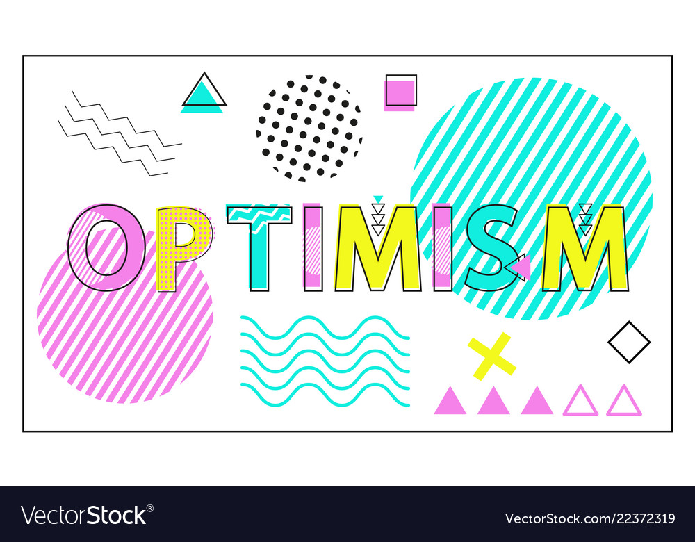Optimism banner with geometrical figures and lines