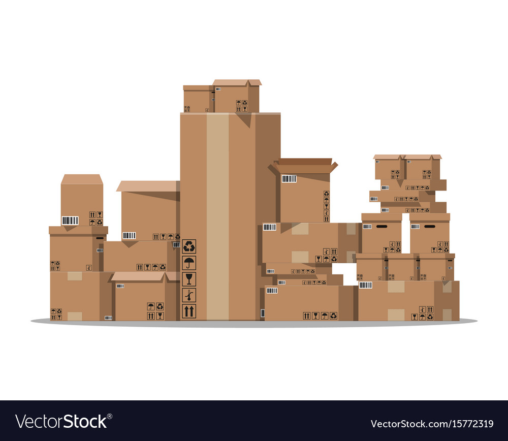 Pile cardboard boxes set vector image