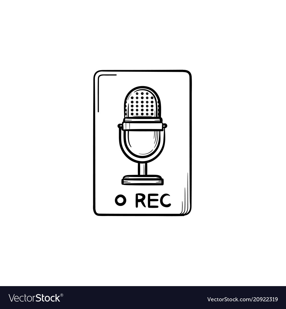 Record button hand drawn outline doodle icon