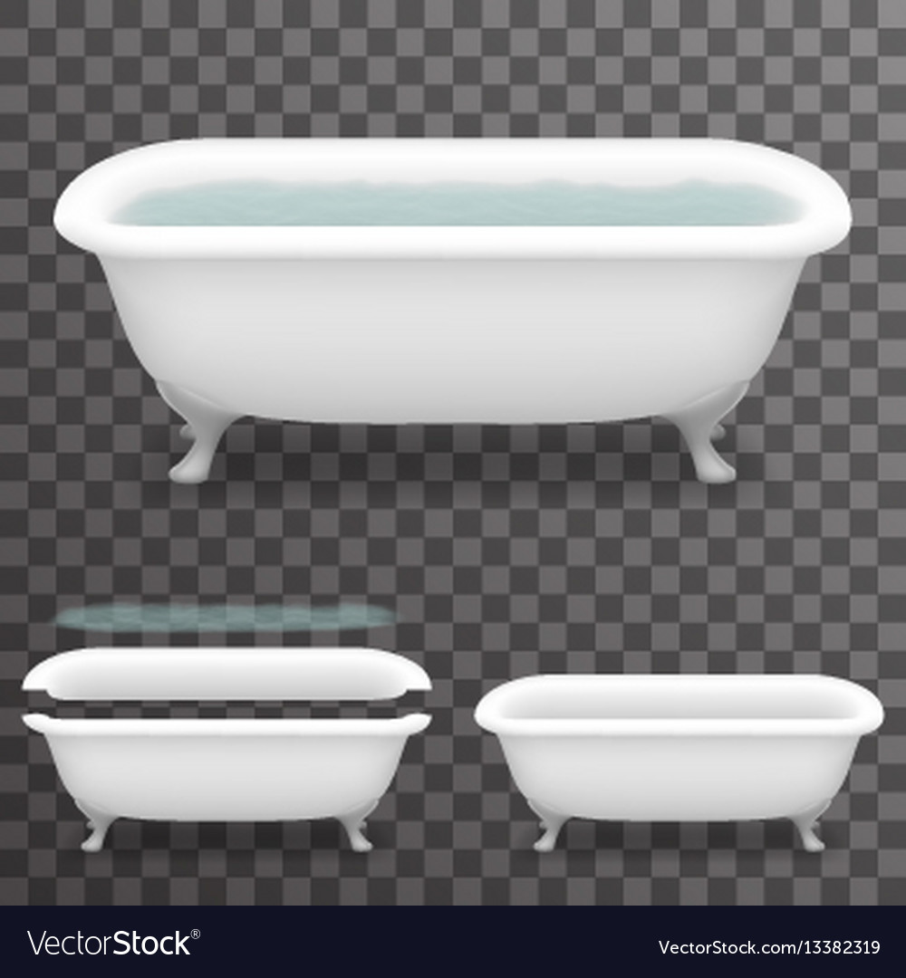 Retro Bath With Water Realistic 3d Parallax