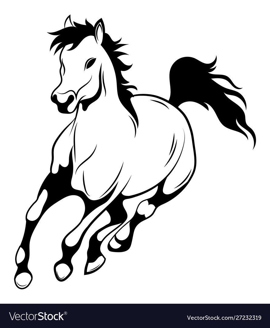 Running Horse Black And White Royalty Free Vector Image