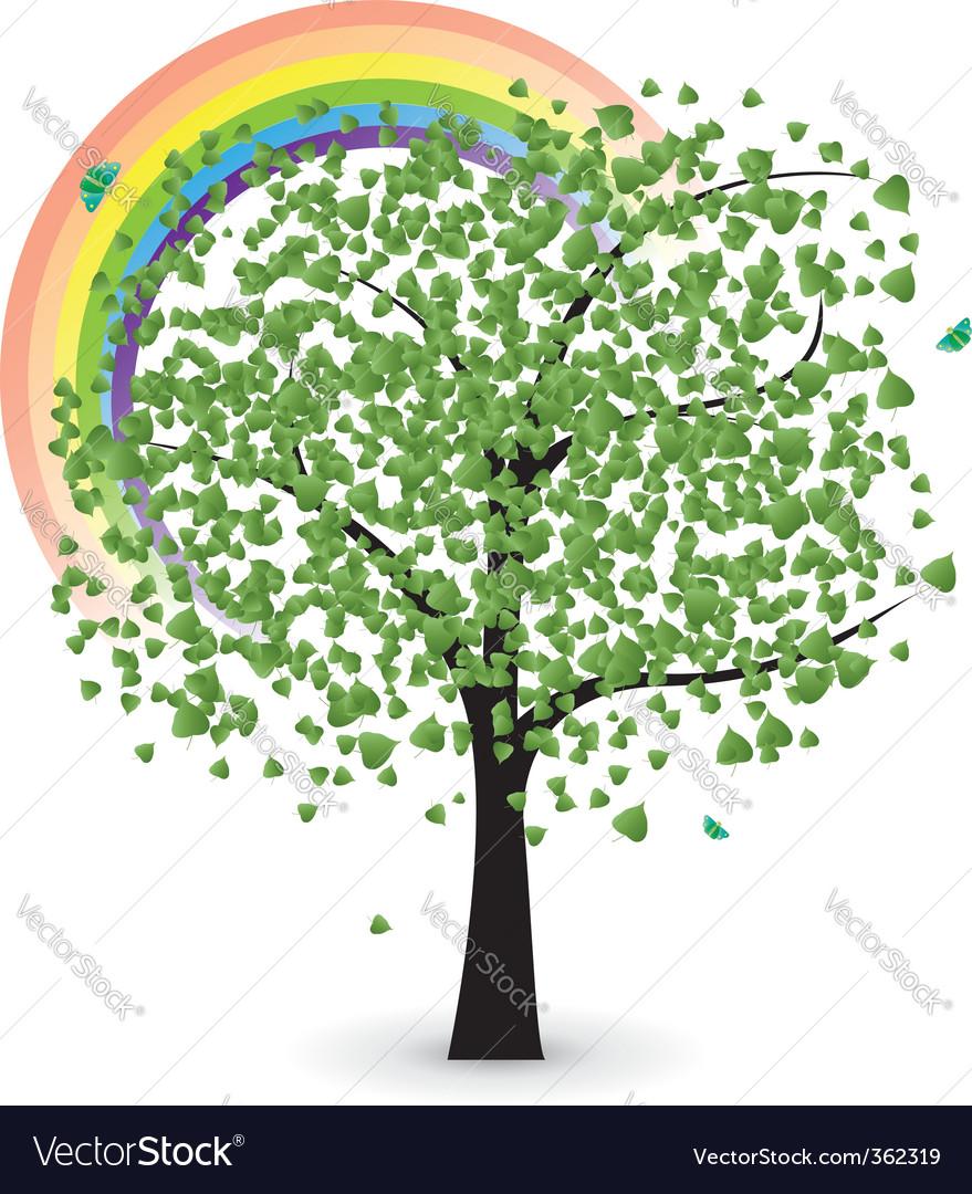 Tree with rainbow vector image