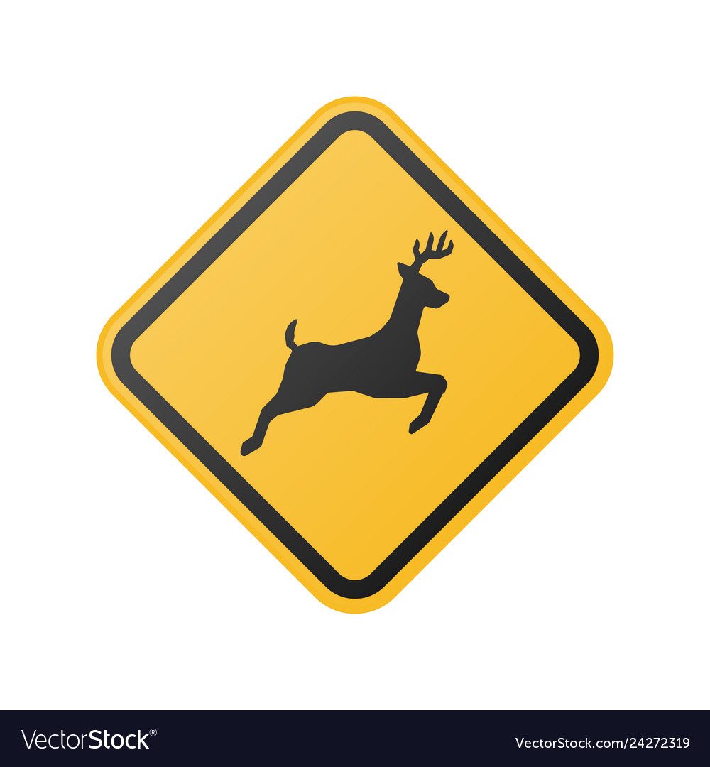 Wildlife crossing warning road sign
